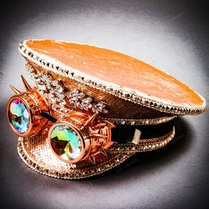 Rose Gold Burning Man Steampunk Captain w/ Goggles